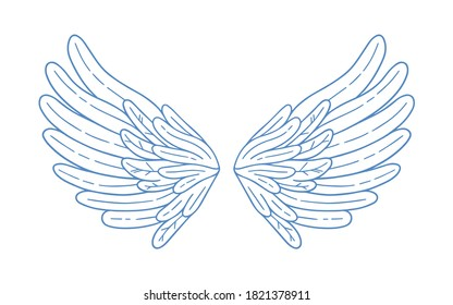 Simple hand drawn feather open wings vector illustration. Monochrome decorative elements of angel, bird or fairy character in outline style. Symbol of love for Valentine s day isolated on white