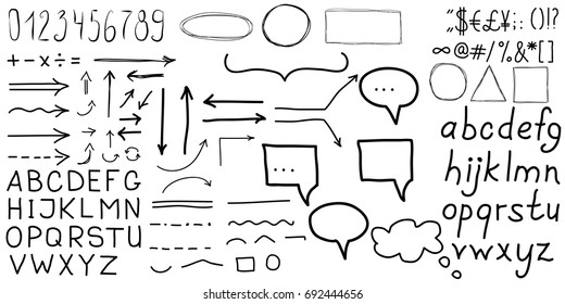 simple hand drawn gray letters and number, speech bubbles, arrows, symbols on white background education set. School or business set. Black and white style