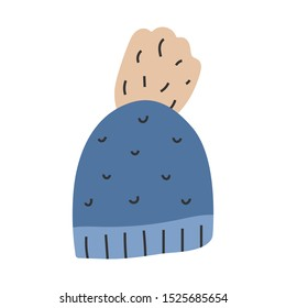 Simple hand drawn illustration of knitted beanie hat for cool autumn weather,  seasonal outfit. Vector doodle icon in modern trendy flat cartoon style.