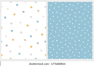 Simple Hand Drawn Irregular Dots Seamless Vector Pattern. Blue, Yellow, Gray and Beige Dots on a White Background. White Spots on a Blue Layout. Abstract Dotted Vector Print Ideal for Fabric, Textile.