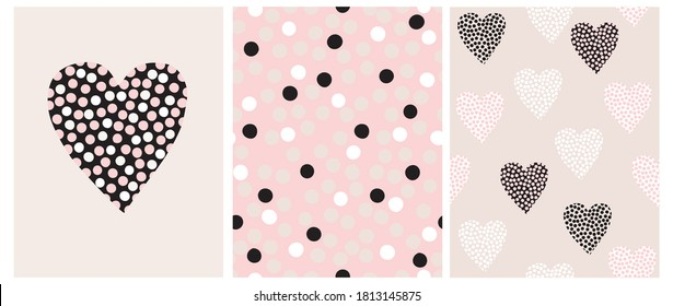 Simple Hand Drawn Irregular Hearts and Dots Vector Patterns and Card. Black, White and Beige Dots on a Pink Background. Valentine Card. Geometric Backdrop. Infantile Style Abstract Dotted Print.