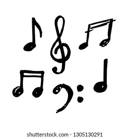 Simple hand drawn notes and musical clef in doodle style. Vector illustration.