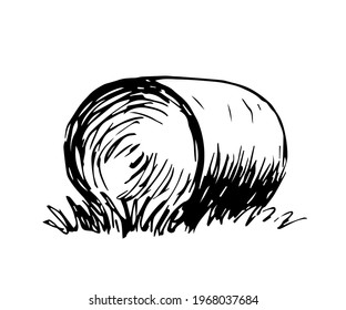 Simple hand drawn vector drawing in engraving style. Round haystack isolated on white background, straw, dry grass. Farm, ranch. Countryside, autumn fields, harvest.