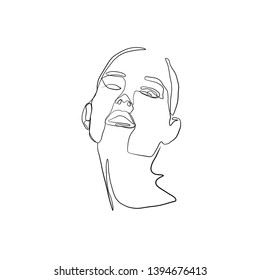Simple hand drawn woman drawing. Female character isolated on white background. Trendy design concept  for beauty logo, print, card, poster. Freehand avatar human face in abstract style