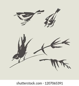 Simple hand painted black and white bird. Asian style ink drawn birdie set.