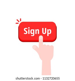 simple hand with red sign up button. concept of online registration on the site or client click on signup banner. cartoon flat style trend modern join us logo graphic art design isolated on white