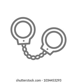 Simple handcuffs, manacle line icon. Symbol and sign vector illustration design. Isolated on white background