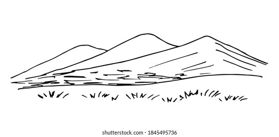 Simple hand-drawn vector drawing in black outline. Mountain landscape, grass, wilderness, hilly area. Tourism, travel. Ink sketch.