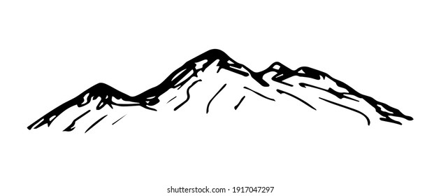 Simple hand-drawn vector drawing in black outline. Nature, panoramic landscape, mountain top. Ink sketch. Tourism, travel, sport.
