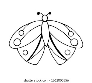 Simple hand-drawn vector sketch in black outline. Stylized cartoon moth butterfly isolated on a white background. For prints, children's coloring, postcards, labels. Insects, nature, summer season.