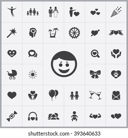 Simple happiness icons set. Universal happiness icons to use for web and mobile UI, set of basic happiness elements