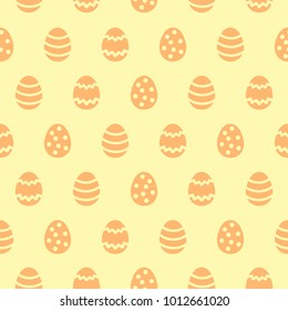 Simple Happy Easter seamless vector pattern. Yellow and orange colors. Various painted stylized tiny eggs regular texture. Flat design Easter, spring background. Template for cards, greetings.