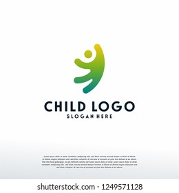 Simple Happy People logo template, Jumping reaching kids logo template, logo symbol icon