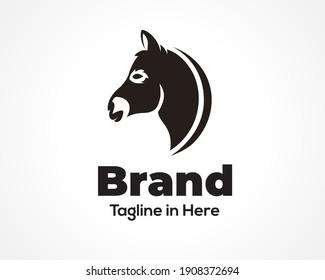Simple head donkey, horse side view icon, logo, symbol design inspiration illustration