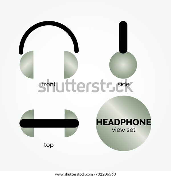 Simple headphone/ headset symbol/ sign vector icon from circle shape and line, isolated. Black and grey with gradient color. Front, side and top view.