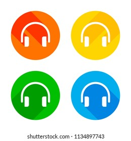 Simple headphones icon. Flat white icon on colored circles background. Four different long shadows in each corners