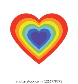 Simple heart with pride flag rainbow color. LGBTQ Community vector illustration