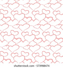 Simple hearts pattern with many red lines in transparent background