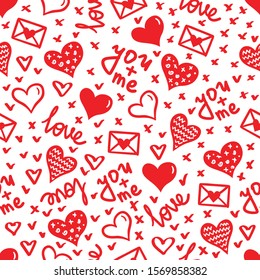 Simple hearts seamless vector pattern. Valentines day background. Flat design endless chaotic texture made of tiny heart silhouettes.