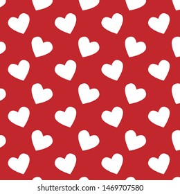 Simple hearts seamless vector patterns. Valentines OR chirstmas day background. Flat design endless chaotic texture made of tiny heartVector illustration for holiday design.
