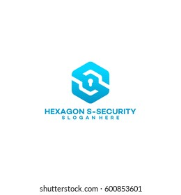 simple hexagon S initial lock logo, Security S initial logo vector illustration