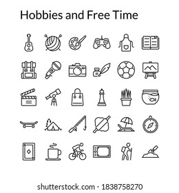 Simple Hobbies and Free Time Line Style Contain Such Icon as Cooking, Singing, Fishing, Football, Knitting, Shopping, Travelling, Cycling, Bakery, Chess, Painting and more. 64 x 64 Pixel Perfect