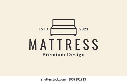 simple home furniture mattress lines minimalist logo vector symbol icon design illustration