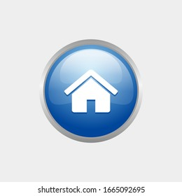 simple Home glossy icon with Blue color design, circle glossy button template vector for website, advertising, print