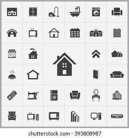 Simple home icons set. Universal home icon to use for web and mobile UI, set of basic home elements