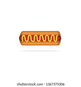 Simple Hotdog With Mustard mix Tomatoes Sauces, Hotdog with Mustard mix Tomatoes Sauces Vector Stock, Hotdog with Mustard mix Tomatoes Sauces Icon, Hotdog Vector Stock