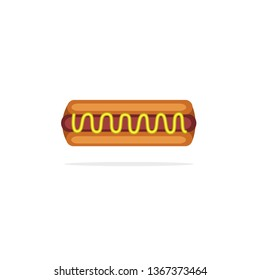 Simple Hotdog With Mustard Sauces, Hotdog with Mustard Sauces Vector Stock, Hotdog with Mustard Sauces Icon, Hotdog Vector Stock