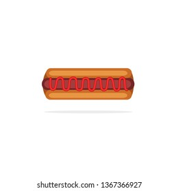 Simple Hotdog With Tomatoes Sauces, Hotdog with Tomatoes Sauces Vector Stock, Hotdog with Tomatoes Sauces Icon, Hotdog Vector Stock