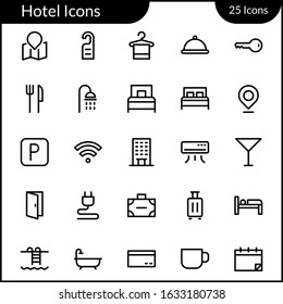 Simple Hotel Facility Icon Set With Line Style Contain Such Icon as Map, Location, Hanger, Towel, Wifi, Shower AC, Bed, Door, Bathroom, Bathub, Suitcase, Vacation and more. 48 x 48 Pixel Perfect