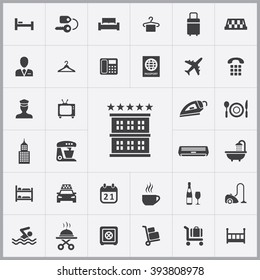 Simple hotel icons set. Universal hotel icon to use for web and mobile UI, set of basic hotel elements