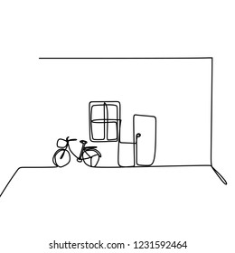 Simple house indoor with bicycle, window, and door. one line drawing minimalist style.