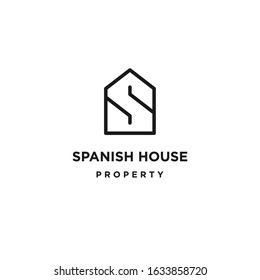 Simple house logo vector form the letter S for real estate or property company