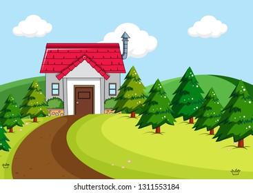 Simple house in rural scene illustration