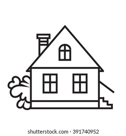 Royalty Free House Cartoon Black White Stock Images Photos