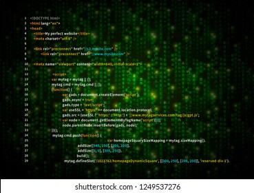 Simple HTML code on green matrix symbols, digital binary code on dark