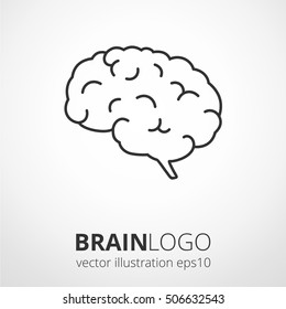 Simple human brain logo. Brain silhouette vector template. Brainstorm think idea logotype concept icon.