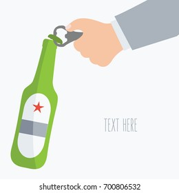 simple human hand of man or male opens with opener beer bottle flat design style on background cartoon with space for text and writ. manliness vector. alcoholic businessman in party. alcohol isolated