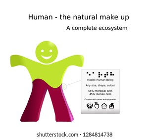 A simple human icon showing the amount of human cells and microbial cells from the microbiome