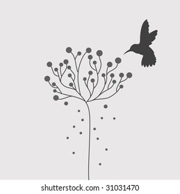 simple hummingbird and tree vector
