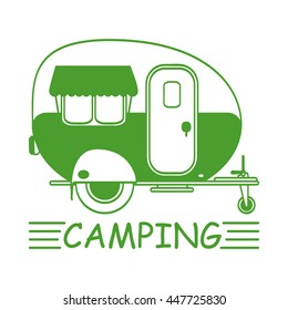 "A simple icon with a camper and the words ""camping"". Vector illustration. For web, logo and print."