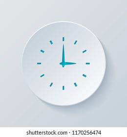 Simple icon of clock. Cut circle with gray and blue layers. Paper style