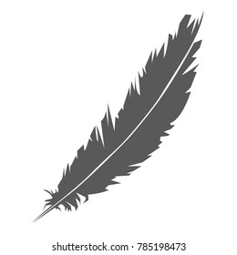 Simple icon of feather silhouette - concept of poet and whriter