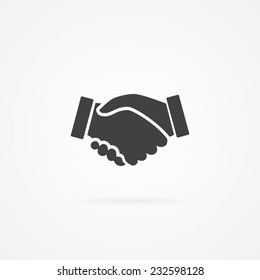 Simple icon of handshake sign. Shadow and white background.