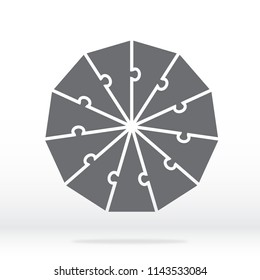 Simple icon hendecagon puzzle in gray. Simple icon decagon puzzle of the eleven elements on transparent background. Flat design. Vector illustration EPS10.