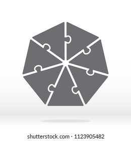 Simple icon heptagon puzzle in gray. Simple icon heptagon puzzle of the seven elements. Flat design. Vector illustration EPS10.