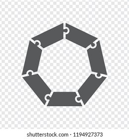 Simple icon heptagon puzzle in gray. Simple icon heptagon puzzle of the seven elements on transparent background. Flat design. Vector illustration EPS10.